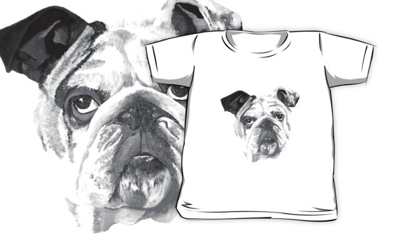 Portrait Of An American Bulldog In Black and White  by taiche