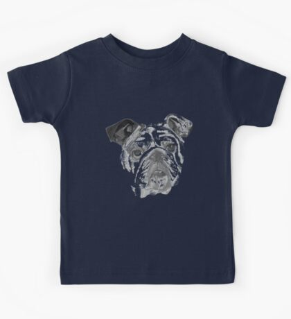 Portrait Of An American Bulldog In Black and White  Kids Tee