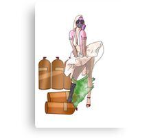 the girl in a gas mask  Canvas Print