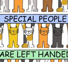 Left Hander's Day August 13th, cute cats. Sticker