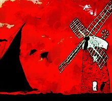 A digital painting of Horsey Windmill & Wherry by Dennis Melling