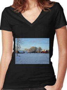 An afternoon in the country Women's Fitted V-Neck T-Shirt