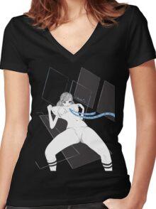 JK MANGA NOIR Women's Fitted V-Neck T-Shirt