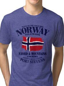 Norway Flag - Vintage Look Tri-blend T-Shirt