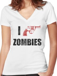 I Shotgun Zombies/ I Heart Zombies  Women's Fitted V-Neck T-Shirt