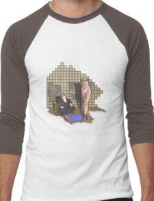 she is built  Men's Baseball ¾ T-Shirt