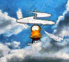 A digital painting of the Aerial Screw, flying machine by Dennis Melling
