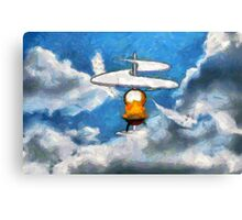 A digital painting of the Aerial Screw, flying machine Canvas Print