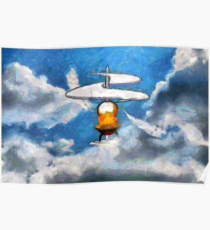 A digital painting of the Aerial Screw, flying machine Poster
