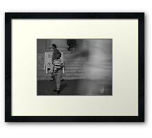 The boy with his thoughts Framed Print