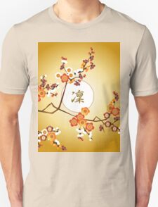 Japanese Plum Blossoms Dignified Moon Branch Gold Orange Unisex T-Shirt