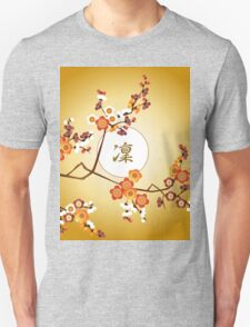 Japanese Plum Blossoms Dignified Moon Branch Gold Orange T-Shirt