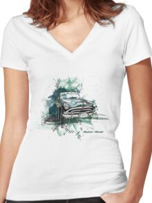 Hudson Hornet Women's Fitted V-Neck T-Shirt