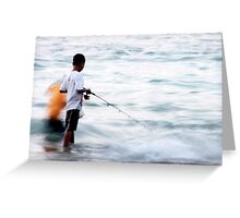 Boys Fishing at Bingin Beach Greeting Card