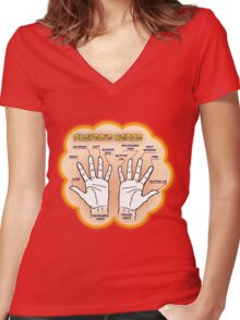 The player's hands. Women's Fitted V-Neck T-Shirt