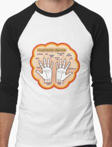 The player's hands. Men's Baseball ¾ T-Shirt