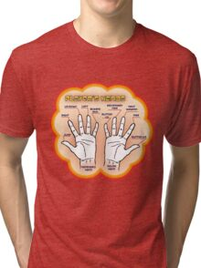The player's hands. Tri-blend T-Shirt