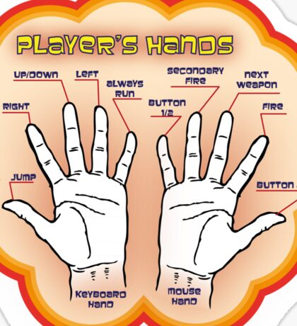 The player's hands. Sticker