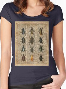 Beetles & Bugs,Insect Chart,Biological Illustration on Vintage Dictionary Book Page Background Women's Fitted Scoop T-Shirt