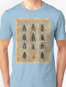 Beetles Bugs Zoology Illustration Vintage Dictionary Art T-Shirt