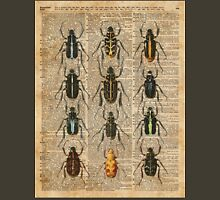 Beetles & Bugs,Insect Chart,Biological Illustration on Vintage Dictionary Book Page Background Unisex T-Shirt