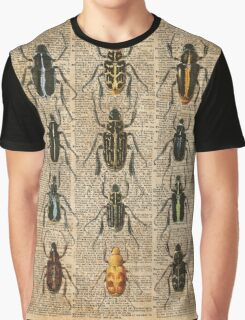 Beetles & Bugs,Insect Chart,Biological Illustration on Vintage Dictionary Book Page Background Graphic T-Shirt