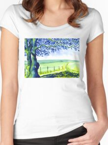 Country Lane Peak District Derbyshire Women's Fitted Scoop T-Shirt