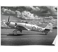 Black and white image of Hawker Sea fury. Poster