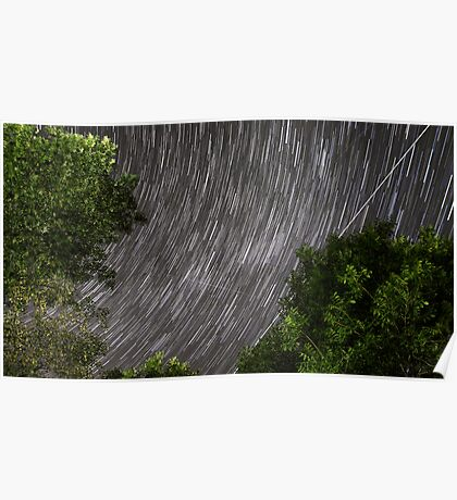 Startrails above tree Poster