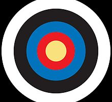 Bulls Eye, Right on Target, Roundel, Archery, Pop, Mod, on BLACK by TOM HILL - Designer