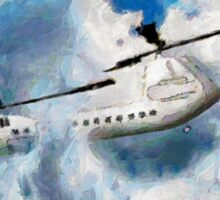 A digital painting of my vector drawing of a Chinook Type Helicopter Sticker