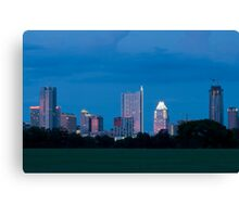 Austin Skyline at dusk from Zilker Park lawn Canvas Print