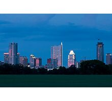 Austin Skyline at dusk from Zilker Park lawn Photographic Print