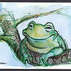 &quot;Life is Good&quot; - frog is very happy by Rebecca Rees