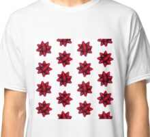 Festive Red Holiday Gift Bow Pattern Classic T-Shirt