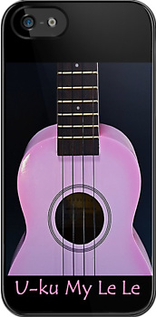Pink Ukulele iPhone case  by HanieBCreations