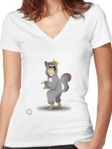 markiplier squirrel king  Women's Fitted V-Neck T-Shirt