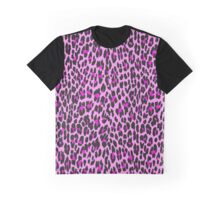 Animal Print, Spotted Leopard - Pink Black  Graphic T-Shirt