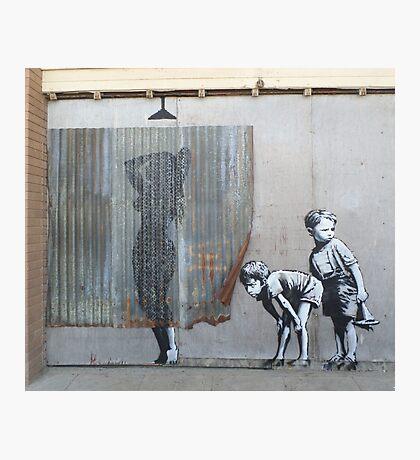 Banksy Dismaland Graffiti Shower Lady Photographic Print