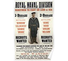 Royal naval division Handymen to fight on land sea Men wanted 134 Poster