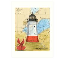 Vermillion Lighthouse OH Nautical Map Cathy Peek Art Print