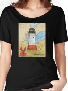Vermillion Lighthouse OH Nautical Map Cathy Peek Women's Relaxed Fit T-Shirt