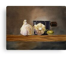 Still Life With Garlic and Olive Canvas Print