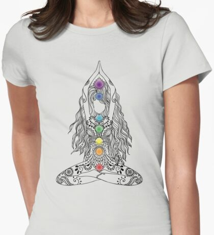 Yoga Om Chakras Mindfulness Meditation Zen 1 Womens Fitted T-Shirt