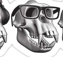 Hear Evil See Evil Speak Evil Monkey Skull Sticker