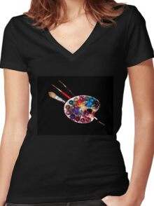 ARTIST COLOUR PALETTE AND BRUSHES Women's Fitted V-Neck T-Shirt