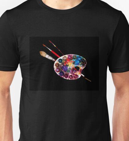 ARTIST COLOUR PALETTE AND BRUSHES Unisex T-Shirt
