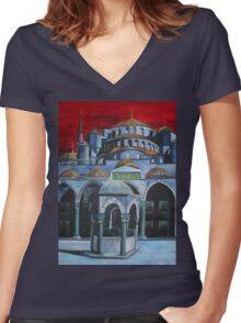 Sultan Ahmed Mosque, Istanbul Women's Fitted V-Neck T-Shirt