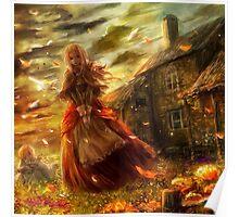 Anime Autumn Girl Poster