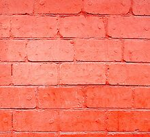 Red background of bricks with a layer of paint closeup by vladromensky